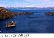 Купить «General view of Lake Tahoe, a large freshwater lake in the Sierra...», фото № 29558599, снято 31 марта 2018 г. (c) age Fotostock / Фотобанк Лори
