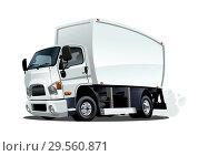 Купить «Cartoon delivery or cargo truck isolated on white background», иллюстрация № 29560871 (c) Александр Володин / Фотобанк Лори