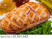 Купить «Fried duck breast Magre served with arugula, asparagus and sauces», фото № 29561643, снято 23 марта 2019 г. (c) Яков Филимонов / Фотобанк Лори