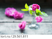 Купить «Little pink roses bouquet, rustical still life, shallow depth of field», фото № 29561811, снято 3 июня 2018 г. (c) Короленко Елена / Фотобанк Лори
