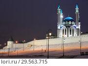 Купить «Russia. Beautiful winter view of the ancient walls and towers of the Kazan Kremlin and the Kul Sharif Mosque in Kazan in the evening light», фото № 29563715, снято 5 декабря 2018 г. (c) Яна Королёва / Фотобанк Лори