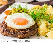 Купить «Beefsteak with fried egg and mashed potatoes close-up», фото № 29563899, снято 22 января 2017 г. (c) Ольга Сергеева / Фотобанк Лори