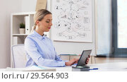 Купить «businesswoman with tablet computer works at office», видеоролик № 29564903, снято 10 декабря 2018 г. (c) Syda Productions / Фотобанк Лори