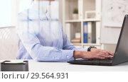 Купить «businesswoman hands typing on laptop at office», видеоролик № 29564931, снято 10 декабря 2018 г. (c) Syda Productions / Фотобанк Лори