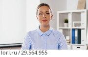 Купить «businesswoman having video conference at office», видеоролик № 29564955, снято 10 декабря 2018 г. (c) Syda Productions / Фотобанк Лори