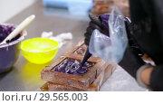 Купить «confectioner filling mold by cream at sweet-shop», видеоролик № 29565003, снято 10 декабря 2018 г. (c) Syda Productions / Фотобанк Лори