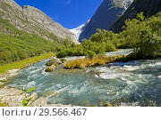 Купить «Briksdal Glacier River, Jostedalsbreen National Park, Norway, Scandinavia, Europe.», фото № 29566467, снято 19 июля 2019 г. (c) age Fotostock / Фотобанк Лори