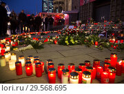 Купить «Germany, Berlin - Commemoration of the victims of the terrorist attack at Christmas Market Breitscheidplatz (Gedaechtniskirche) 2016», фото № 29568695, снято 20 декабря 2017 г. (c) Caro Photoagency / Фотобанк Лори