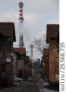 Купить «Poland, Bytom - old, run-down mining settlement in Bobrek district with industrial chimneys», фото № 29568735, снято 28 февраля 2018 г. (c) Caro Photoagency / Фотобанк Лори