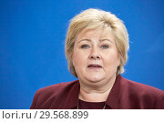 Купить «Berlin, Germany - Erna Solberg, Prime Minister of Norway.», фото № 29568899, снято 16 октября 2018 г. (c) Caro Photoagency / Фотобанк Лори