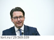 Купить «Berlin, Germany - Federal Minister of Transport Andreas Scheuer.», фото № 29569039, снято 6 ноября 2018 г. (c) Caro Photoagency / Фотобанк Лори