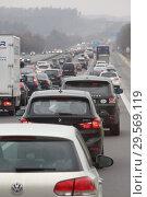 Купить «Hofolding, Germany, traffic jam on the A9 towards north», фото № 29569119, снято 10 февраля 2018 г. (c) Caro Photoagency / Фотобанк Лори