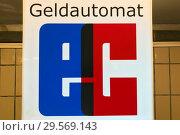 Купить «Berlin, Germany, sign EC Geldautomat», фото № 29569143, снято 27 марта 2018 г. (c) Caro Photoagency / Фотобанк Лори
