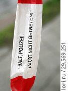 Купить «Berlin, Germany, barrier tape with the inscription - stop police do not enter crime scene - », фото № 29569251, снято 13 апреля 2018 г. (c) Caro Photoagency / Фотобанк Лори