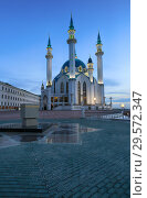Купить «Kazan, Russia, December 6, 2018. Beautiful evening view of the Kul Sharif mosque in the Kazan Kremlin», фото № 29572347, снято 6 декабря 2018 г. (c) Яна Королёва / Фотобанк Лори