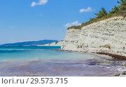 Купить «Rocky shore view. Black Sea Coast of Divnomorskoe town. Krasnodar region, Russia», фото № 29573715, снято 24 августа 2017 г. (c) Николай Коржов / Фотобанк Лори