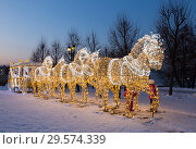 "Купить «New year's installation in the Museum-reserve ""Tsaritsyno"". Fabulous glowing coach, drawn by six horses glowing.», фото № 29574339, снято 16 декабря 2018 г. (c) Наталья Волкова / Фотобанк Лори"