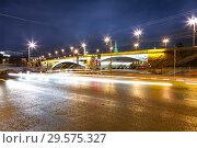 Купить «Stone Bridge near Kremlin (at night)-- the most popular view of Moscow, Russia», фото № 29575327, снято 28 сентября 2014 г. (c) Владимир Журавлев / Фотобанк Лори