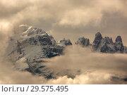 Купить «Snow-capped alps mountains in clouds», фото № 29575495, снято 12 мая 2017 г. (c) Михаил Коханчиков / Фотобанк Лори
