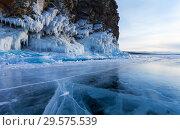 Купить «Lake Baikal. The beautiful icy cliffs of Olkhon Island during the winter cold afternoon», фото № 29575539, снято 23 февраля 2013 г. (c) Виктория Катьянова / Фотобанк Лори