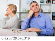 Купить «Mature couple decide family matters and find out relationship», фото № 29576319, снято 3 августа 2020 г. (c) Яков Филимонов / Фотобанк Лори