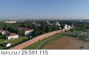Купить «Saint Sophia Cathedral and Novgorod Kremlin», видеоролик № 29591115, снято 21 сентября 2018 г. (c) Михаил Коханчиков / Фотобанк Лори