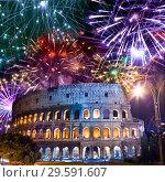 Купить «Celebratory fireworks over Collosseo. Italy. Rome», фото № 29591607, снято 26 мая 2011 г. (c) Куликов Константин / Фотобанк Лори