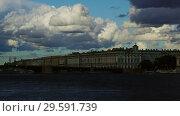 Купить «Cloudy sky over Neva river in Saint Petersburg», видеоролик № 29591739, снято 27 сентября 2018 г. (c) Михаил Коханчиков / Фотобанк Лори