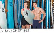 Купить «friends with boards for surfing», фото № 29591983, снято 30 апреля 2018 г. (c) Яков Филимонов / Фотобанк Лори
