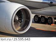 Купить «Турбина пассажирского самолета крупным планом», фото № 29595643, снято 29 декабря 2010 г. (c) Александр Гаценко / Фотобанк Лори