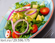 Купить «Plate of low calorie salad with avocado», фото № 29596175, снято 16 января 2019 г. (c) Яков Филимонов / Фотобанк Лори