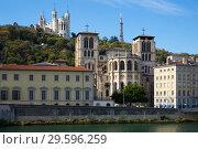 Купить «Cityscape of Lyon, town in France at riverside Saone at sunny day», фото № 29596259, снято 12 октября 2018 г. (c) Яков Филимонов / Фотобанк Лори