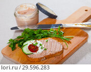 Canape with pate and young cheese at fresh bread, served with greens. Стоковое фото, фотограф Яков Филимонов / Фотобанк Лори