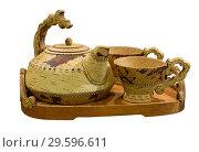 Set of utensils for tea drinking from birch bark on white background isolated. Shadrinsk, Kurgan region, Russia. Стоковое фото, фотограф Наталья Волкова / Фотобанк Лори