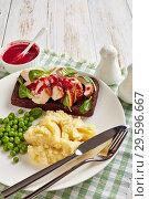 Купить «chicken sandwich with cranberry sauce, top view», фото № 29596667, снято 16 декабря 2018 г. (c) Oksana Zh / Фотобанк Лори