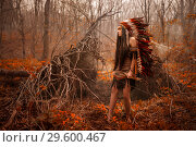 Native american. Indian woman in traditional dress. Стоковое фото, фотограф Евгения Литовченко / Фотобанк Лори