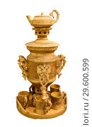 Купить «Russian folk crafts - samovar made of birch bark. The City Of Shadrinsk, In The trans-Ural, Russia. Samovar can be used for its intended purpose, ie for the preparation of tea.», фото № 29600599, снято 20 декабря 2018 г. (c) Наталья Волкова / Фотобанк Лори
