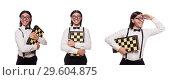Купить «The funny man with chessboard isolated on white», фото № 29604875, снято 25 ноября 2013 г. (c) Elnur / Фотобанк Лори