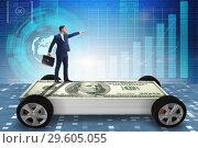 Купить «The businessman in the business concept with dollar car», фото № 29605055, снято 16 июля 2019 г. (c) Elnur / Фотобанк Лори