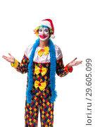 Купить «The young funny clown comedian isolated on white», фото № 29605099, снято 20 июля 2018 г. (c) Elnur / Фотобанк Лори
