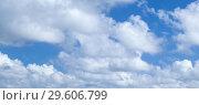 Купить «Blue sky with white cumulus clouds», фото № 29606799, снято 6 января 2017 г. (c) EugeneSergeev / Фотобанк Лори