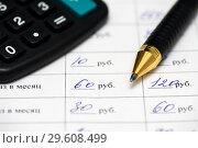 Купить «Расчёт кредита. График платежей кредитного договора, калькулятор и ручка», эксклюзивное фото № 29608499, снято 19 декабря 2018 г. (c) Игорь Низов / Фотобанк Лори