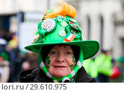 Купить «Performers take part in the annual St. Patrick's Day Parade in central London, as tens of thousands of people watch the parade. Saint Patrick's Day, or...», фото № 29610975, снято 18 марта 2018 г. (c) age Fotostock / Фотобанк Лори
