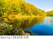 Купить «Shore on the Yumaguzinsky reservoir on the Belaya River. Bashkortostan», фото № 29618135, снято 30 августа 2018 г. (c) Акиньшин Владимир / Фотобанк Лори