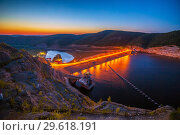 Купить «Beautiful view. Sunset. Night lights on the dam of the Yumaguzinsky reservoir on the White River. Bashkortostan», фото № 29618191, снято 30 августа 2018 г. (c) Акиньшин Владимир / Фотобанк Лори