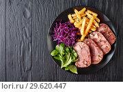 Купить «liced beef tongue and meat aspic, top view», фото № 29620447, снято 18 декабря 2018 г. (c) Oksana Zh / Фотобанк Лори