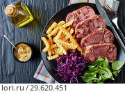 beef tongue aspic with coleslaw and french fries. Стоковое фото, фотограф Oksana Zh / Фотобанк Лори