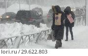 Купить «Люди идут по пешеходной дорожке во время снежного бурана», видеоролик № 29622803, снято 28 декабря 2018 г. (c) А. А. Пирагис / Фотобанк Лори