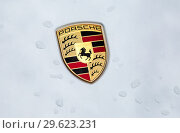 Купить «Porsche automobile logo on the car», фото № 29623231, снято 12 июня 2018 г. (c) FotograFF / Фотобанк Лори