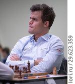 Купить «Чемпион мира Magnus Carlsen, Норвегия на чемпионате мира по быстрым шахматам в Санкт-Петербурге», фото № 29623359, снято 28 декабря 2018 г. (c) Stockphoto / Фотобанк Лори